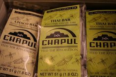 So far, Chapul Bars come in two flavors: Chaco and Thai
