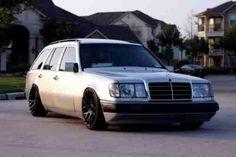 Classic slammed Mercedes wagon.