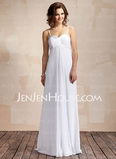 Wedding Dresses - $99.99 - Empire Sweetheart Floor-Length Chiffon Charmeuse Wedding Dress With Ruffle (002011568) http://jenjenhouse.com/Empire-Sweetheart-Floor-Length-Chiffon-Charmeuse-Wedding-Dress-With-Ruffle-002011568-g11568