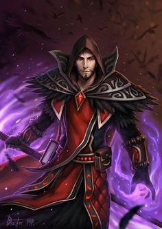m Wizard robe staff magic book Illustration de Chen Disaster Fantasy Witch, Fantasy Male, Fantasy Warrior, Warcraft Characters, Dnd Characters, Fantasy Characters, Art Warcraft, World Of Warcraft 3, Fantasy Character Design