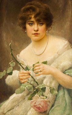 "Franz Dvorak (Austrian, 1862-1927), ""Lady with a rose"""