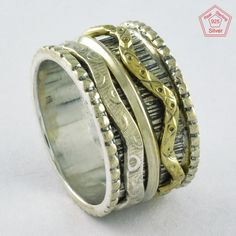 Size 8.5 US, TWO TONE DESIGNER BAND 925 STERLING SILVER SPINNER RING, RN4394 #SilvexImagesIndiaPvtLtd #Spinner