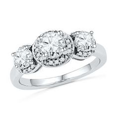 Lab-Created White Sapphire and 1/10 CT. T.W. Diamond Frame Three Stone Engagement Ring in Sterling Silver
