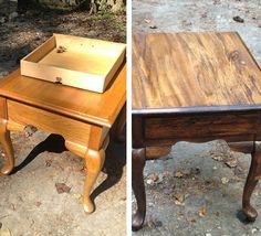 How to stain wood - #DIY farm-style end tables