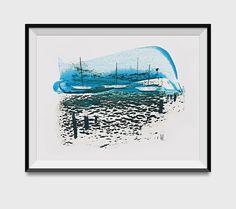 Abstract Seascape, 'Morning Tide', Art Print, Mixed Media and Acrylics, light blue, Marine art, Modern Wall decor,
