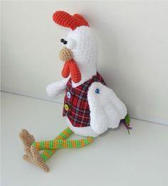 patrón de crochet gallo divertido