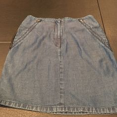 """Waverly Grey Jean Skirt With Faux Leather This is the softest skirt ever. Length is 18"""" and waist is 13"""" one mark shown in last picture Waverly Grey  Skirts"""