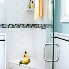 Love this quartz topped shower seat. The corner seat crafted from a quartz remnant means fewer grout lines to keep clean. Seen in This Old House, August Corner Shower Seat, Big Shower, Recessed Medicine Cabinet, Shower Inserts, Fiberglass Shower, Half Walls, Small Bathroom, Bathroom Ideas, Upstairs Bathrooms