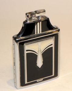 1930 s art deco 2 color enamel ronson masterpact vanity compact case lighter