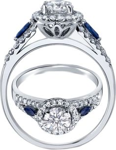 Diamond Halo Engagement Ring Blue Sapphire Accents