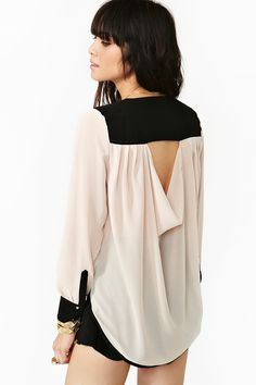 Trimmed Cutout Blouse - NastyGal $58
