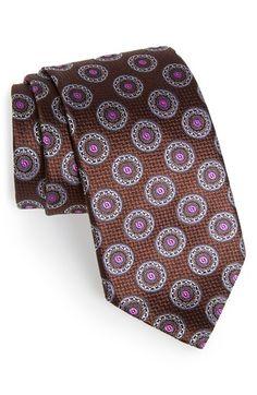 Ermenegildo+Zegna+Medallion+Silk+Tie+available+at+#Nordstrom Designer Ties, Elegant Man, Silk Ties, Men's Clothing, Floral Tie, Nordstrom, Bright, Texture, Suits