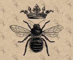 Vintage Bild Queen Bee Queen Crown druckbare digitale Clipart sofortigen Down. Bumble Bee Tattoo, Skull Tatto, Neck Tatto, Queen Bee Tattoo, Logo Bee, Crown Printable, Images Vintage, Retro Images, Drawing Clipart