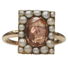 Topaz and Seed Pearl Ring