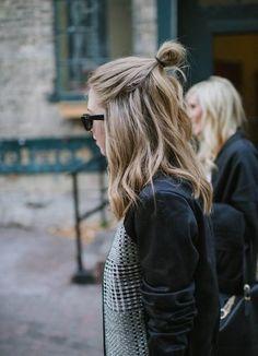 half bun cabello corto