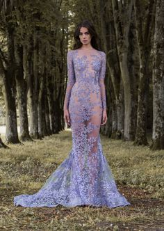 """Lavender illusion long sleeved wedding dress with mermaid silhouette by Paolo Sebastian // Beautiful couture wedding gown inspiration from Paolo Sebastian's 2016/2017 Autumn Winter """"Gilded Wings"""" collection"""
