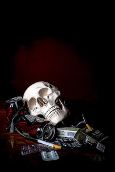Vanitas Cheech Sanchez skull I chose this image because I liked the way a lot of the things in the image are harmful and a skull is added to add to that affect Vanitas Paintings, Vanitas Vanitatum, Crane, Still Life Artists, Danse Macabre, A Level Art, Skull And Bones, Memento Mori, Still Life Photography