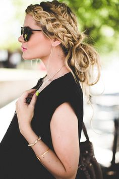 Combining a regular braid with a fishtail braid is an unexpected twist to this messy-chic look.