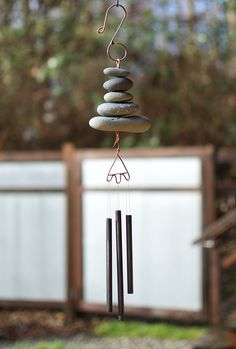 Wind Chime Natural Beach Stone Handcrafted Outdoor Year Round