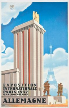 France Eiffel Tower, Rationalism, Streamline Moderne, French History, Expositions, World's Fair, Vintage Travel Posters, Paris, Optical Illusions