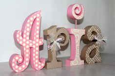 Baby Girl Nursery Decor Personalized Large by JulesWoodnCreations
