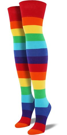 b0fa562bb9d Tall over-the-knee rainbow socks for women have stripes in every color and