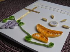 made by MN: Quilling card - First Communion / Moje pierwsze starcie z quillingiem - kartka i dekoracje komunijne First Communion Decorations, First Communion Cards, Religious Symbols, Quilling Cards, Sunday School Crafts, Quilling Designs, Creative Artwork, Plywood Furniture, Creative Cards