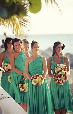 2014 Girls Trends Color Show! Emerald Green Bridesmaid Dresses, Infinity Dress Bridesmaid, Bridesmaid Duties, Colored Wedding Dresses, Wedding Bridesmaid Dresses, Bridal Dresses, Wedding Looks, Dream Wedding, Infinity Dress Styles