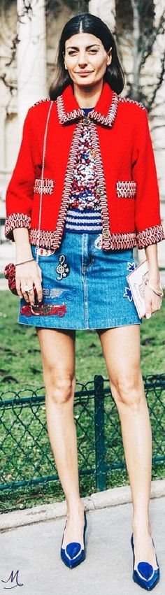 Red, White and Blue Mix of Embellished Denim & Chanel-like Jacket