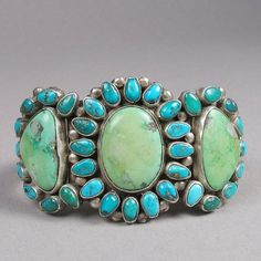 Vintage Silver and Turquoise Zuni Cluster Cuff Bracelet from Shiprock Gallery