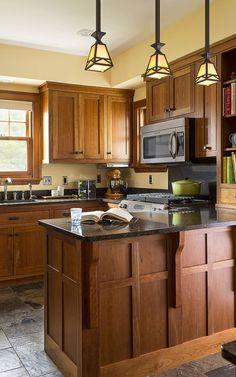 small kitchen design with cherry wood cabinets kitchen ideas rh pinterest com