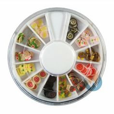 12 Colors Cupcake Candy Designs Nail Art Polymer Decal Slices in Wheel - Ready to Use by Winstonia by Winstonia. $3.91. 12 colors Cupcake & Candy design in wheel. Wheel diameter: 0.4cm. NOTE: Colors  may slightly vary from pictures shown. Lightweight and small, easy to carry around. Polymer fimo pre-cut in slices to reduce the nail art process. This ready to use Nail Art Polymer Decal Slices in Wheel is ready to use, reduce the time in cutting regular nail...