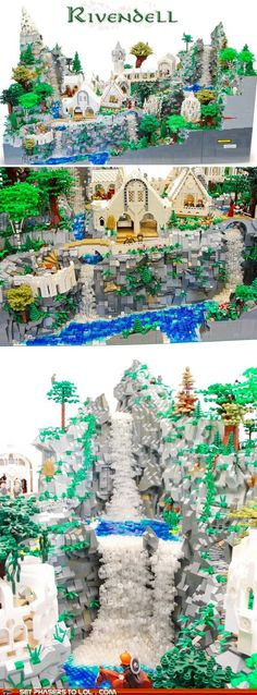 Lego Rivendell! Turns out the kid woh made this is freaking amazing! There is no lego set for this he just made it with the lego he had