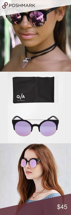 """QUAY AUSTRALIA Livnow Mirrored Round Sunglasses The Livnow Sunnies by Quay are the ultimate """"It Girl"""" shades, as seen on Kylie Jenner and Gwen Stefani. Circular purple mirror lenses are accented by matte black horn-rimmed cat eye frames. Brand new in soft pouch case. Quay Australia Accessories Sunglasses"""