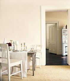 natural calico near wall (ivory room beyond), jasmine white on skirting & window frames