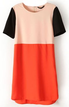 Apricot, Red and Black Dress