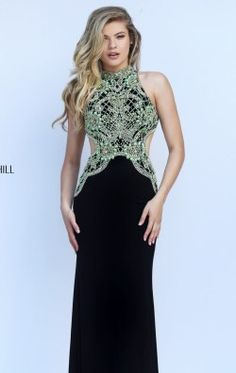 Beaded Cutout Gown by Sherri Hill 50153
