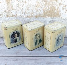 Antique 1930 French tin box set of 3 canisters regionalist women portraits