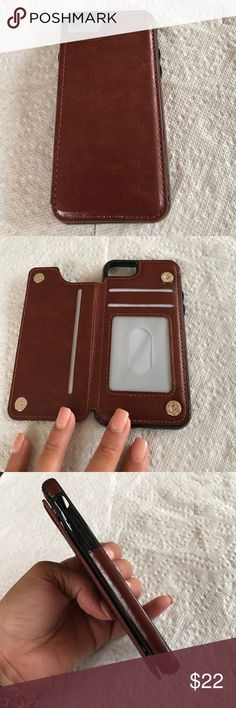 iPhone 7 Case Brown case with compartment for id/credit cards for iPhone 7 Accessories Phone Cases