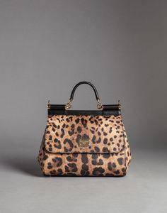MITTELGROSSE TASCHE SICILY AUS KREPP MIT LEOPARDFEN PRINT | Dolce&Gabbana Online Shop