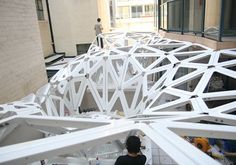 FORMAKERS - code to production – canopy construction / Urban Future Organization Parametric Architecture, Parametric Design, Contemporary Architecture, Architecture Design, Architecture Diagrams, Architecture Portfolio, Parametrisches Design, Urban Design, Outdoor Pavillion