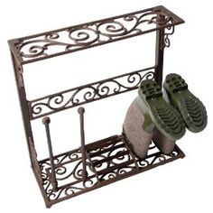Cast Iron Boot Drying Rack with Boot Scraper