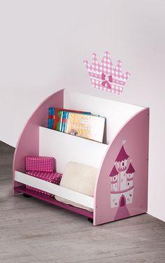 Kinder Regal Krone, Spielzeug- und Bücher-Regal fürs Kinderzimmer, Spielregal fahrbar und drehbar mit Rollen, rosa / weiß