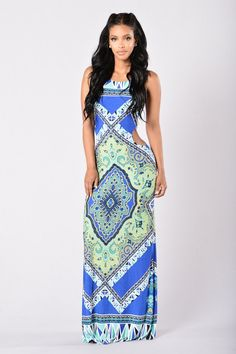 - Available in Blue and Orange - Criss Cross Back - Maxi Length - Side Cutouts - Partially Lined - Shell: 95% Polyester, 5% Spandex; Lining: 100% Polyester