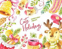 Lindas vacaciones. Acuarela Imágenes Prediseñadas Navidad