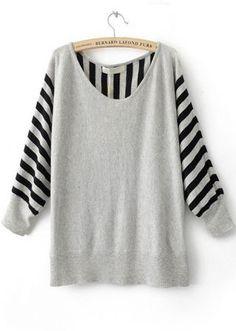 Grey Striped Long Sleeve Batwing Pullovers Sweater #SheInside