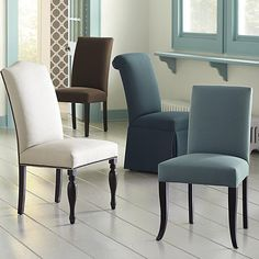 Custom Upholstered Side Chairs by Bassett Furniture. You select the upholstering, back type and size the works with your dining room style and color palette.