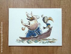 Terrapin and Toad: Sketchbook doodles - Calm seas. Dip pen and watercolour illustration.