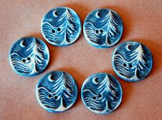 Handmade stoneware buttons, Moon over cedars