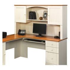 Sauder Harbor View Corner Computer Desk With Hutch - Antiqued White